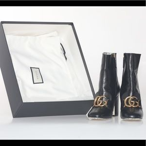 GUCCI smooth leather GG booties size 7.5 NIB